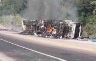 Caminhão tomba e pega fogo na BR-116, em Inhapim